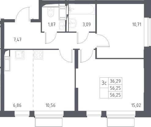 3Е-комнатная, 56.55 м²– 2