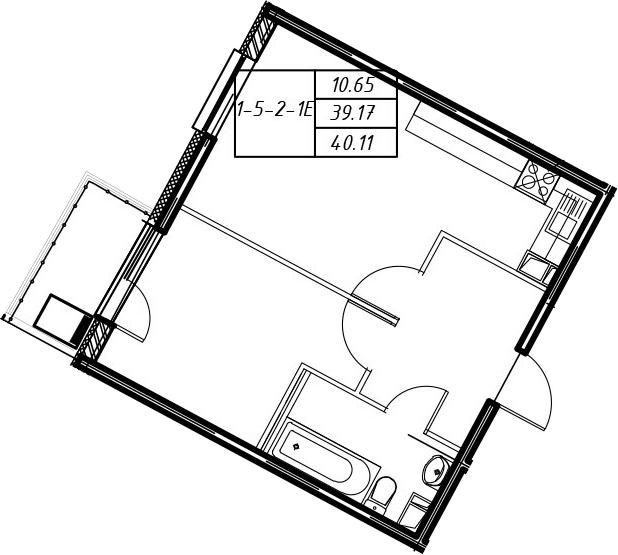 2-к.кв (евро), 42.31 м²