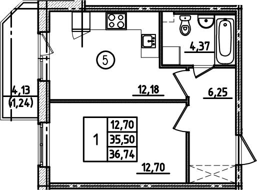 1-к.кв, 36.74 м², 1 этаж