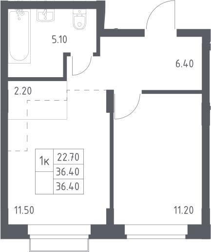 2Е-к.кв, 36.4 м², 2 этаж