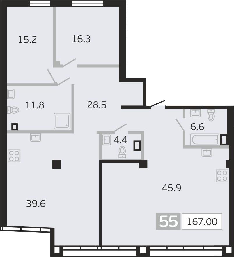 4Е-к.кв, 167 м², 8 этаж