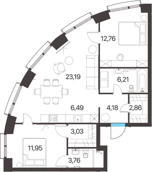 3Е-комнатная, 74.43 м²– 2