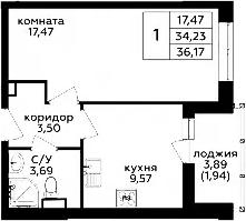 1-комнатная, 36.17 м²– 2