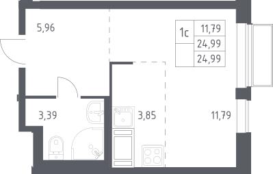 Студия, 24.99 м²