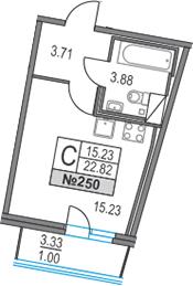 Студия, 26.15 м²