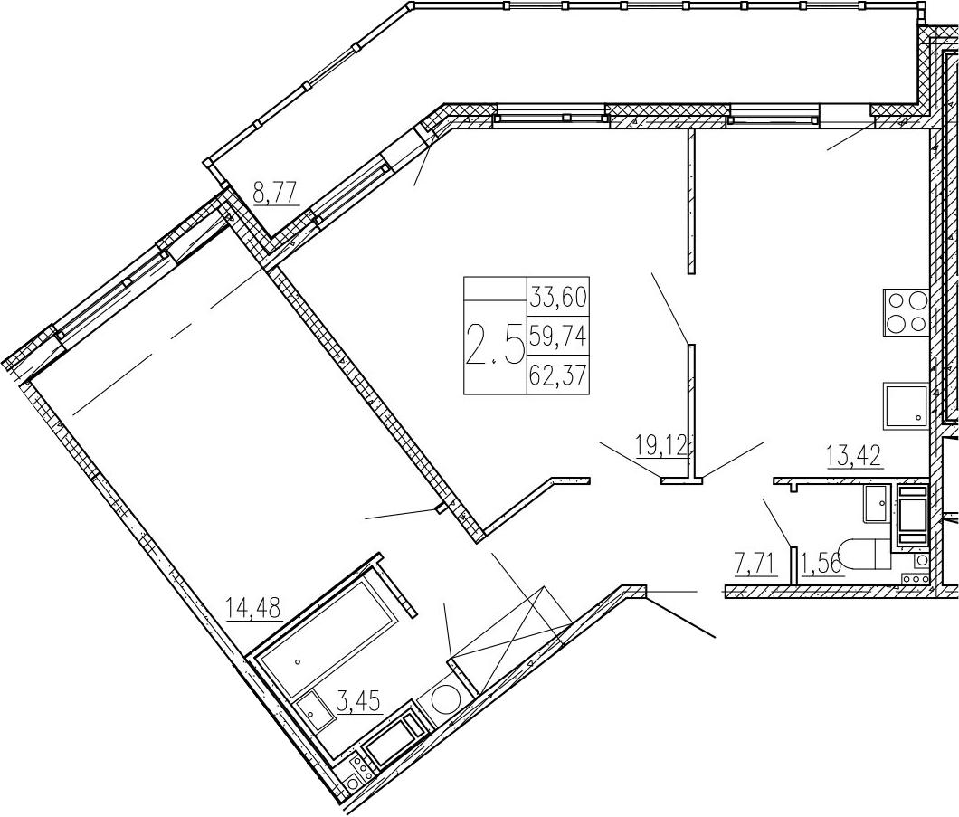 2-к.кв, 68.51 м²