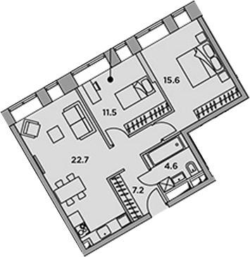 3-к.кв (евро), 61.5 м²