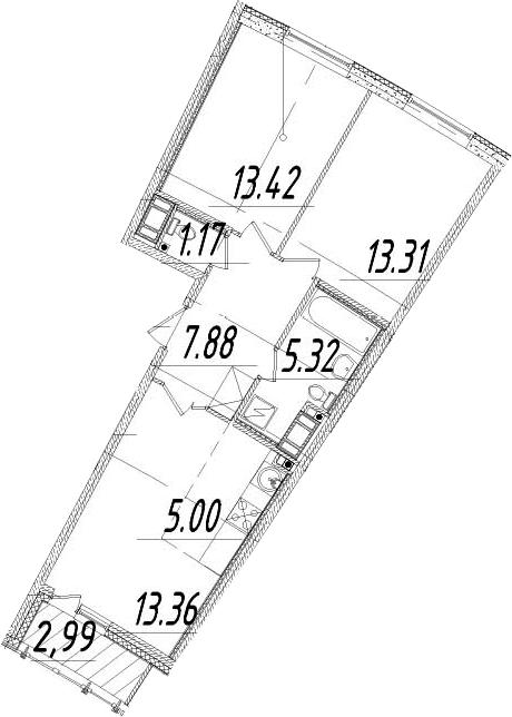 3Е-комнатная, 60.96 м²– 2