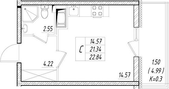 Студия, 26.33 м²