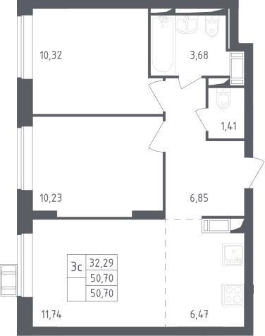 3Е-к.кв, 50.7 м²