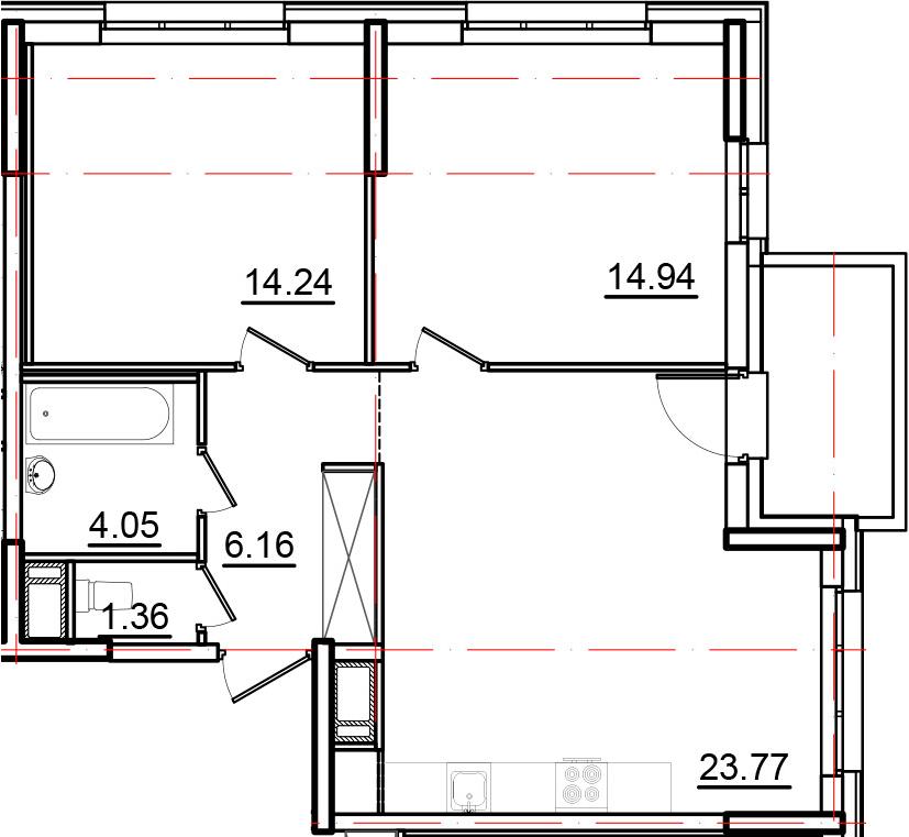 3Е-к.кв, 66.72 м², от 3 этажа