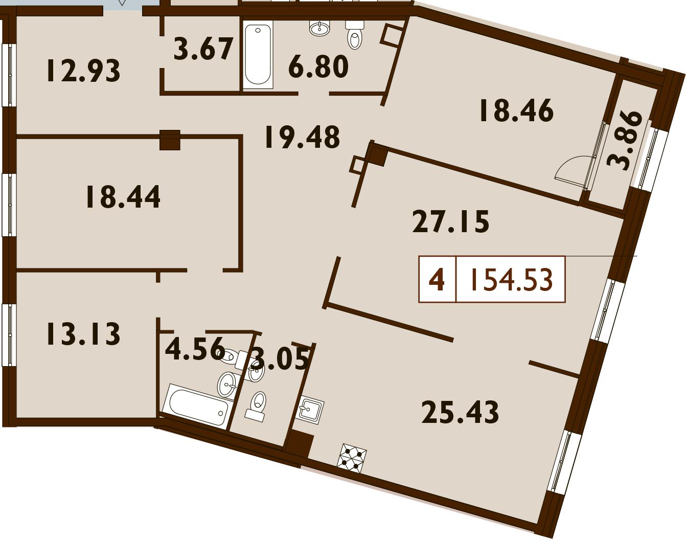 5-к.кв (евро), 157.23 м²