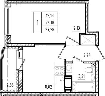 1-к.кв, 26.1 м², 2 этаж