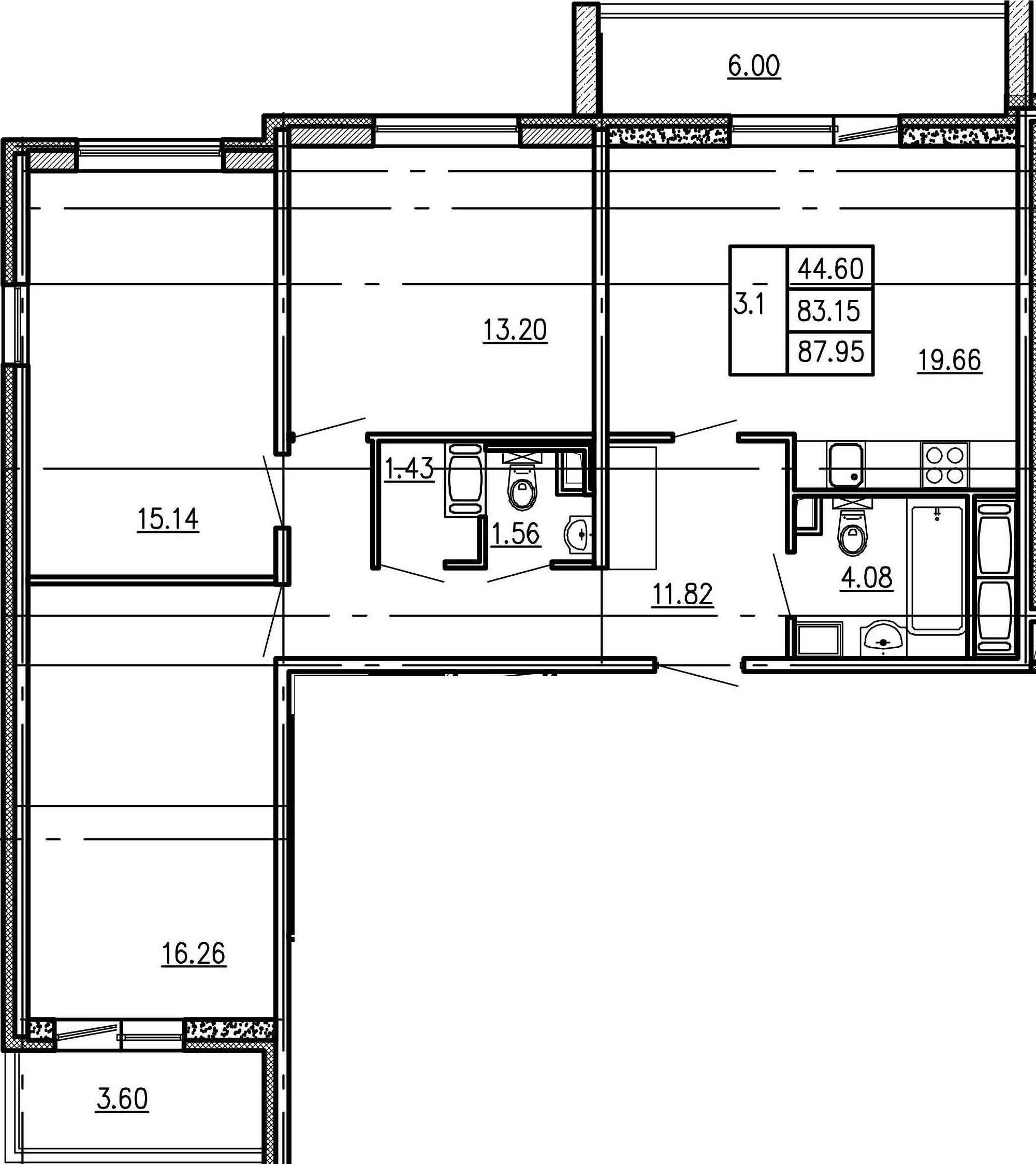 4Е-к.кв, 83.15 м²