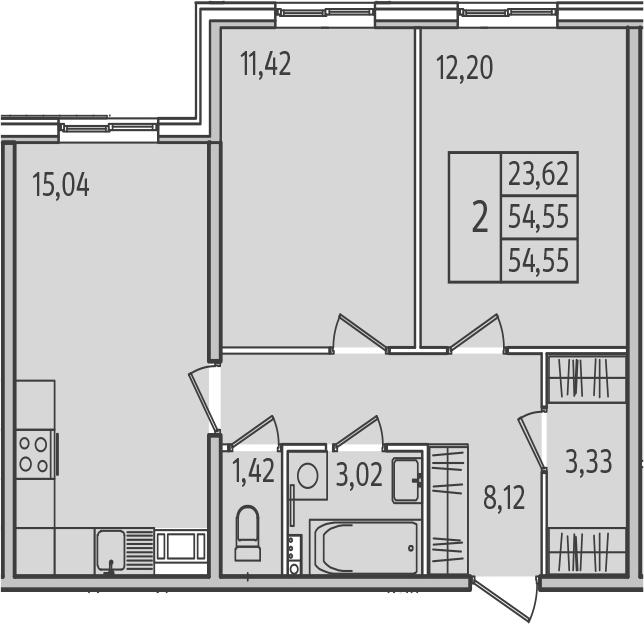 3-к.кв (евро), 54.55 м²