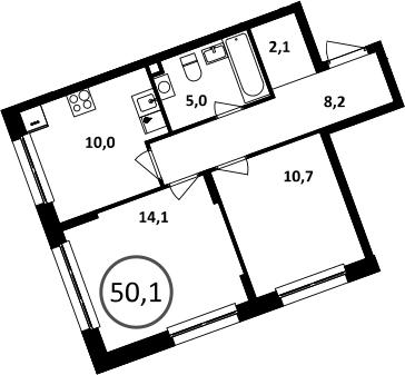 2-к.кв, 50.1 м²