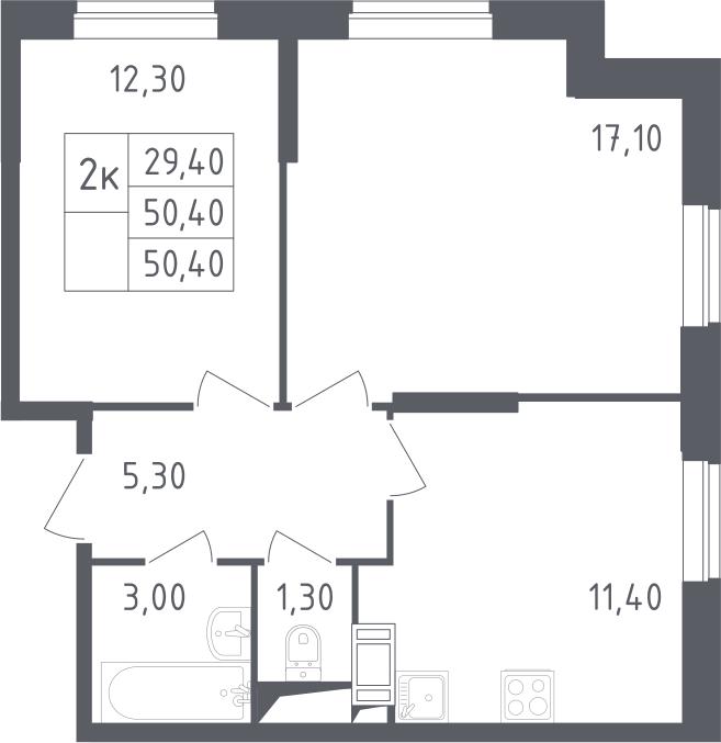 2-к.кв, 50.4 м²