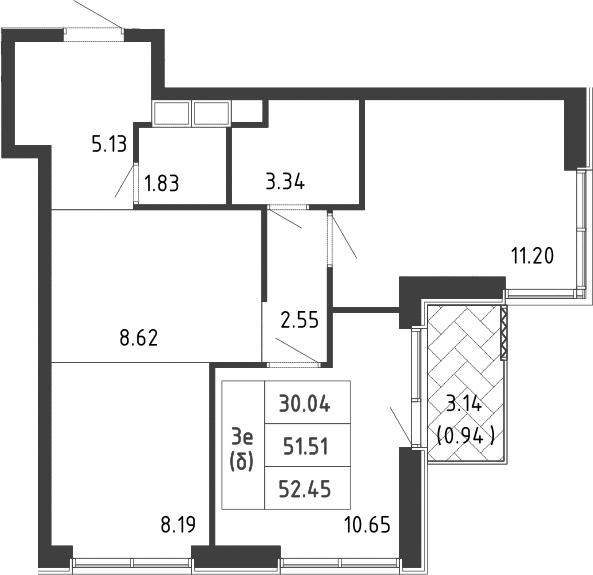 3-к.кв (евро), 54.59 м²