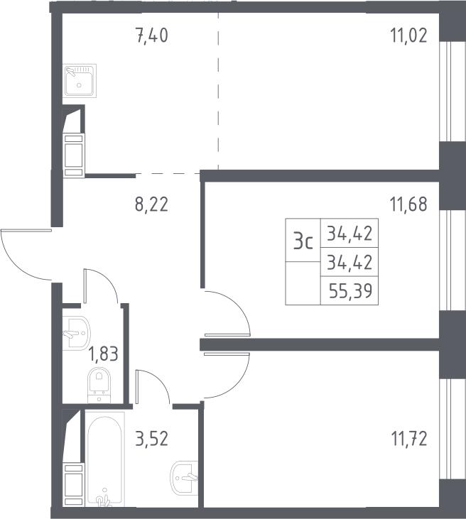 3Е-комнатная, 55.39 м²– 2
