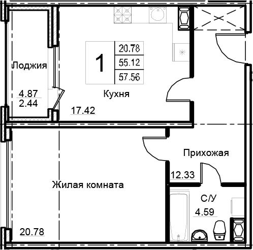 2Е-к.кв, 57.56 м²