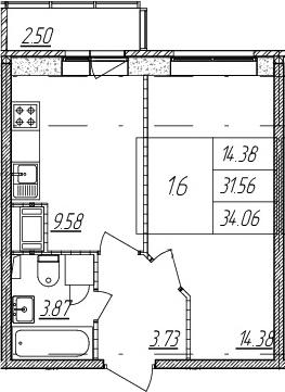 1-комнатная квартира, 31.56 м², 4 этаж – Планировка