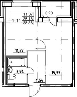 2Е-к.кв, 35.18 м²