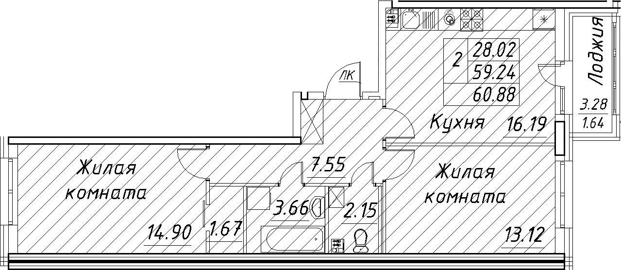 3-к.кв (евро), 62.52 м²