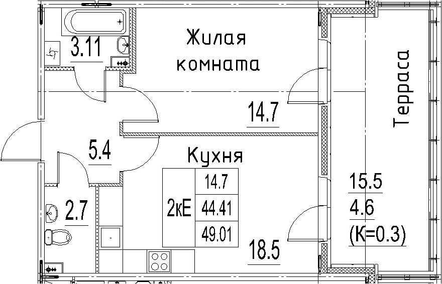 2Е-к.кв, 49.01 м²