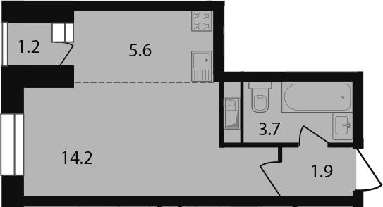 Студия, 26.6 м²