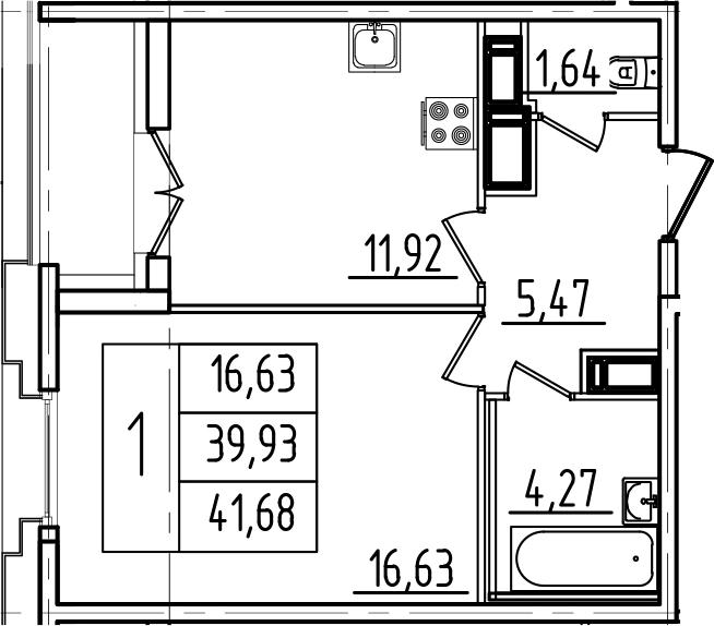 1-к.кв, 41.68 м²