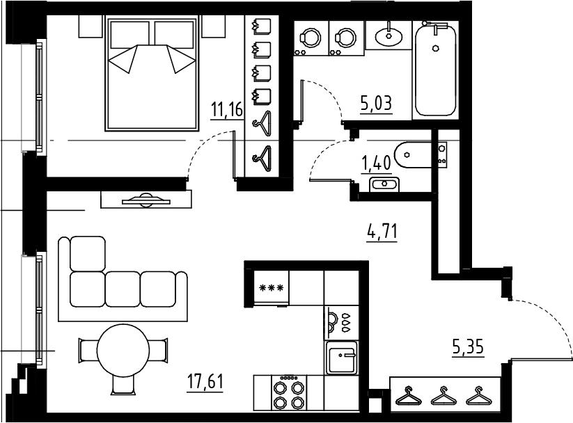 2Е-комнатная, 45.26 м²– 2