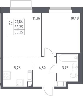 2Е-к.кв, 35.35 м², 5 этаж