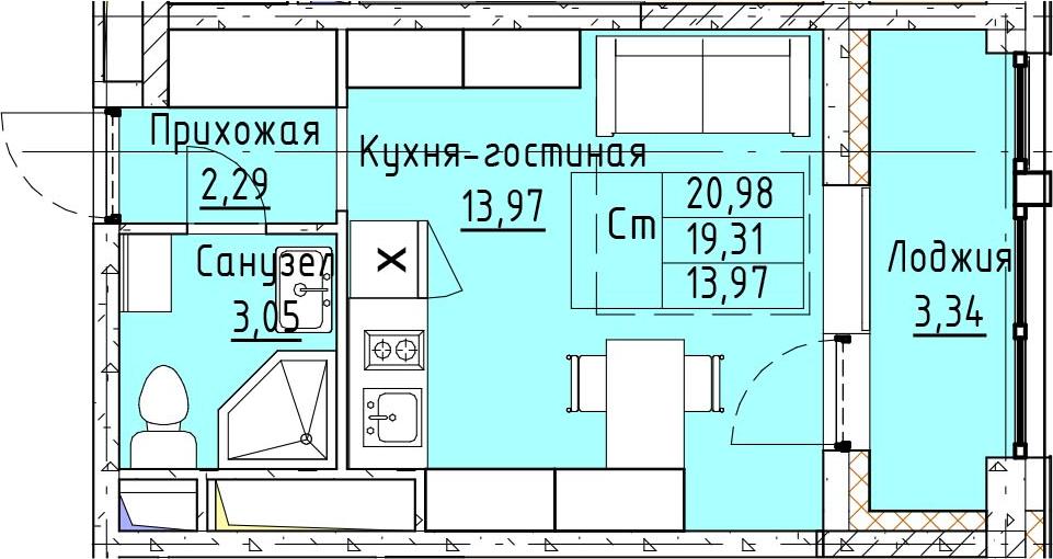 Студия, 20.98 м²– 2