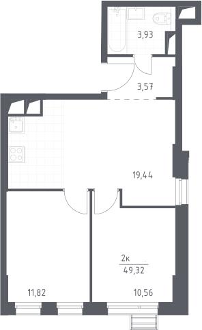3Е-комнатная, 49.32 м²– 2