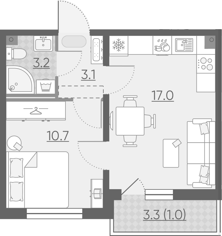2Е-комнатная квартира, 35 м², 2 этаж – Планировка