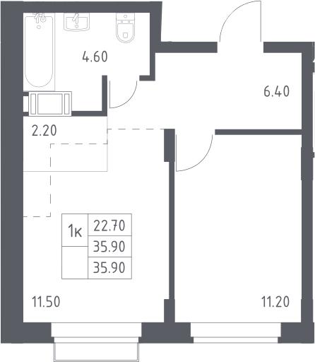 2Е-к.кв, 35.9 м², 10 этаж