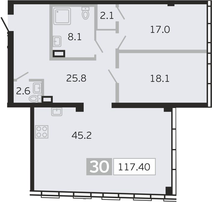 3Е-к.кв, 117.4 м², 9 этаж