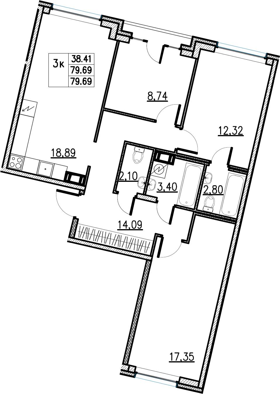 4Е-комнатная, 79.69 м²– 2