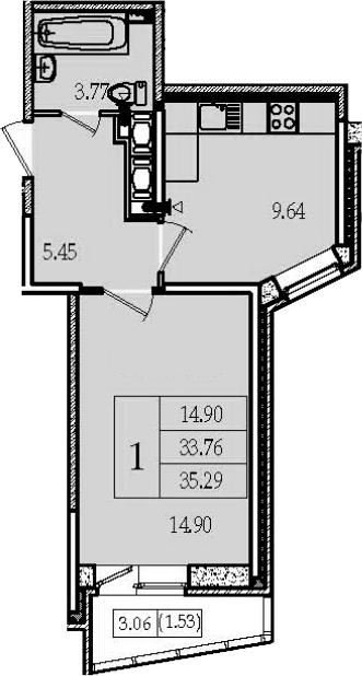 1-к.кв, 35.29 м², 16 этаж