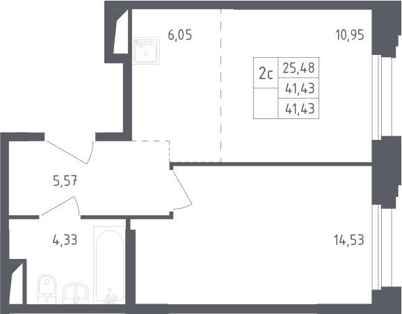 2Е-комнатная, 41.43 м²– 2