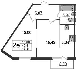 2-к.кв (евро), 48.51 м²