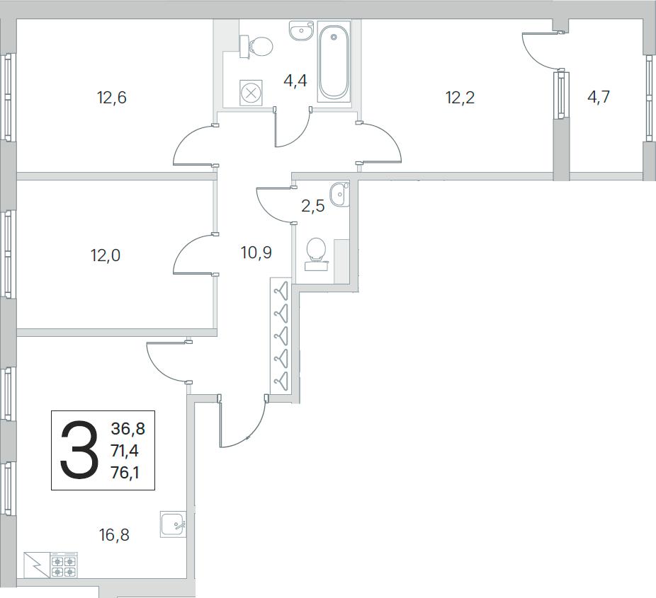 4Е-к.кв, 71.4 м², 2 этаж