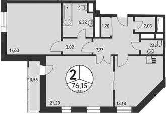 2-к.кв, 79.47 м²