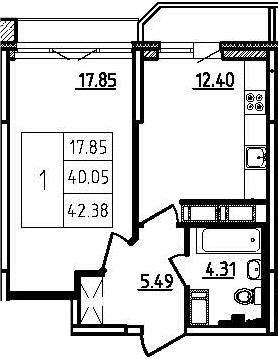 1-к.кв, 45.95 м²