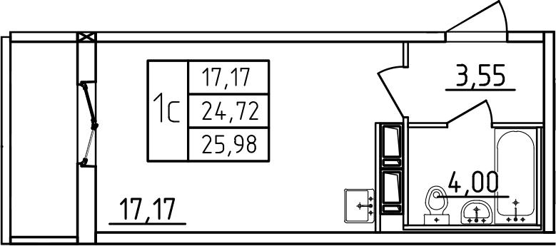 Студия, 25.98 м²– 2