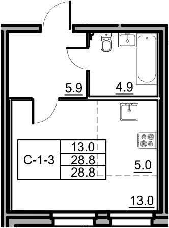 Студия, 28.8 м²