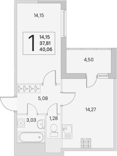 2Е-комнатная, 37.81 м²– 2