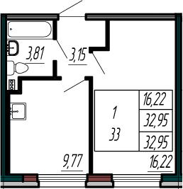 1-к.кв, 32.95 м²