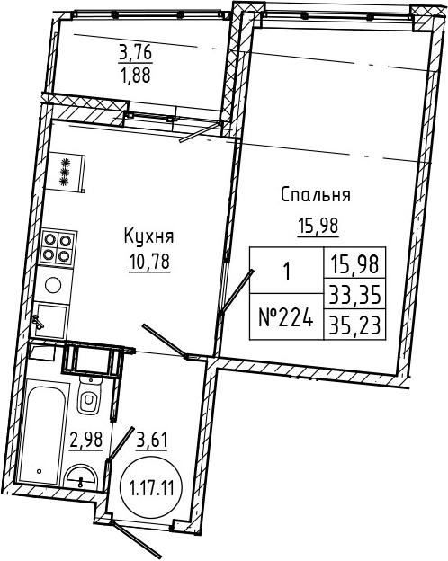 1-комнатная, 35.23 м²– 2