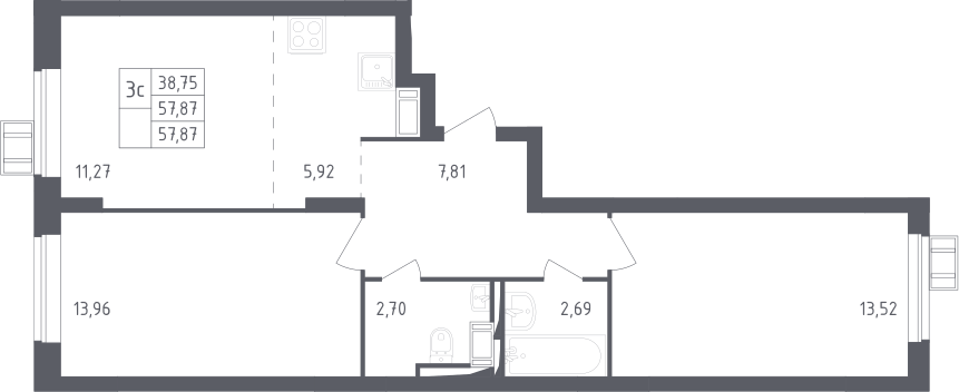 3Е-к.кв, 57.87 м², 17 этаж